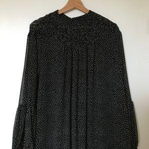 ZARA black polka dot chiffon mini dress